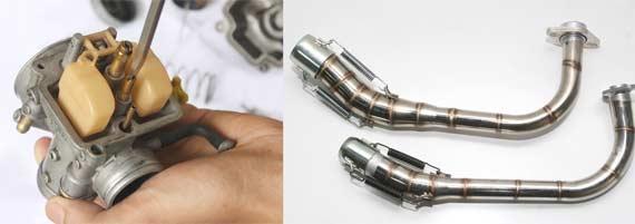 Jangan lupa, sempurnakan lewat karburator setelah ganti knalpot (kiri). Pilih diameter pas sesuai kapasitas mesin (kanan).