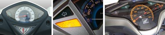 Penampilan speedometer Hayate (kiri) paling sederhana. Xeon (tengah) sudah dilengkapi dengan indikator layaknya motor injeksi