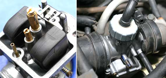 Spuyer standar bawaan(kiri). Pasang Keihin PE gak perlu ubahan(kanan)